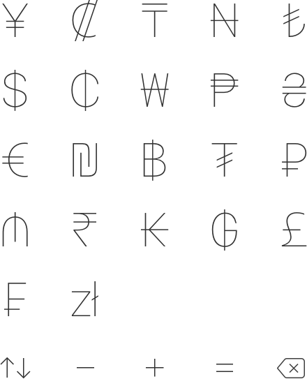 Currency for iOS glyphs and icons, work by Nuno Coelho Santos