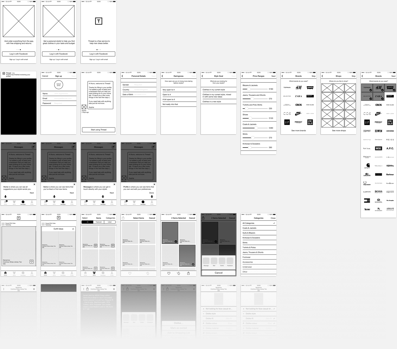 Thread V2 iOS wireframes, work by Nuno Coelho Santos